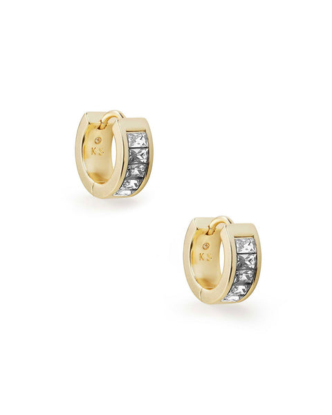 Kendra Scott Jack Huggie Earrings in Clear Crystal and Gold Plated