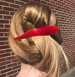 Ficcare Maximas Hair Clip in Silky Red Enamel and Gold