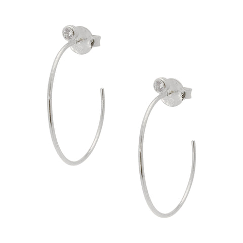 Sheila Fajl Petite Sima Silver Plated Hoop Earrings with CZ Accent