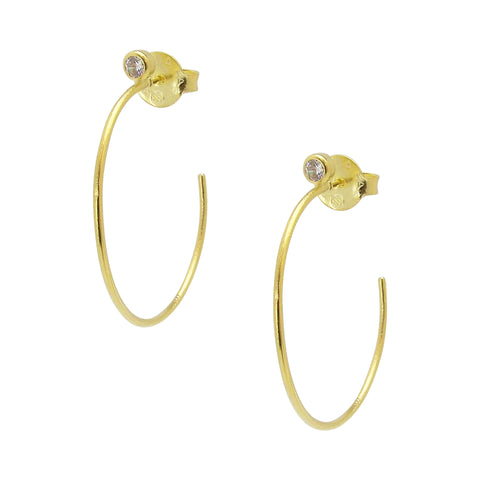 Sheila Fajl Petite Sima Gold Plated Hoop Earrings with CZ Accent