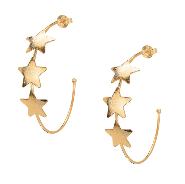 image of Sheila Fajl Silvina Star Statement Hoop Earrings in Champagne