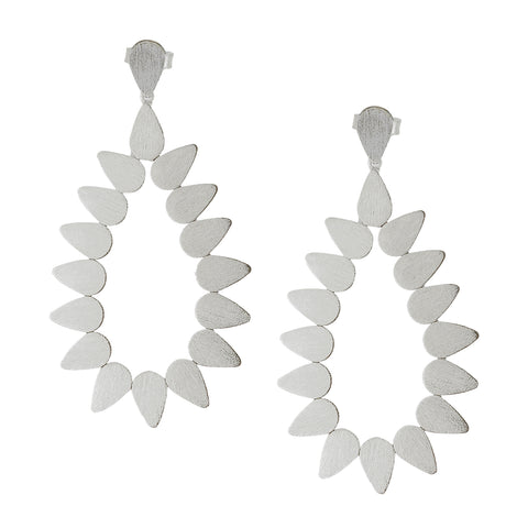 Sheila Fajl Livia Open Teardrop Statement Earrings in Silver Plated