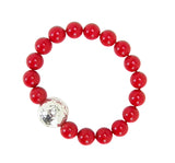 Simon Sebbag Beaded Stretch Bracelet in Red Shell and Sterling Silver