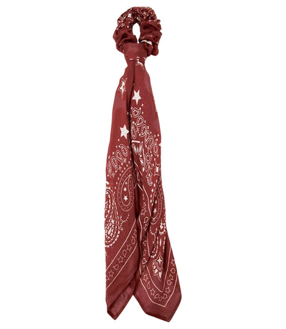 Chan Luu Cowhide Red 2 in 1 Hair Scrunchie and Paisley Bandana Scarf