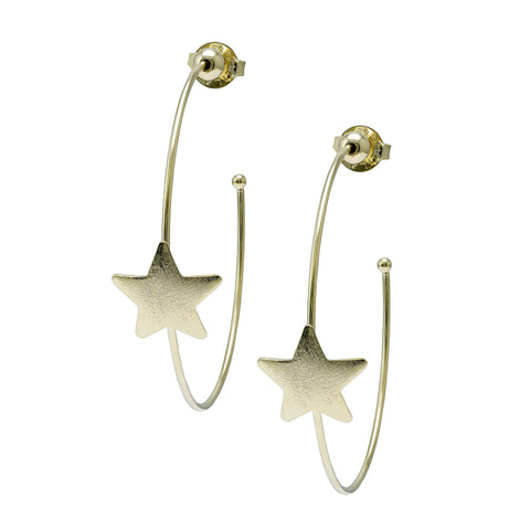 Sheila Fajl Ursa Single Star Statement Hoop Earrings in Gold Plated