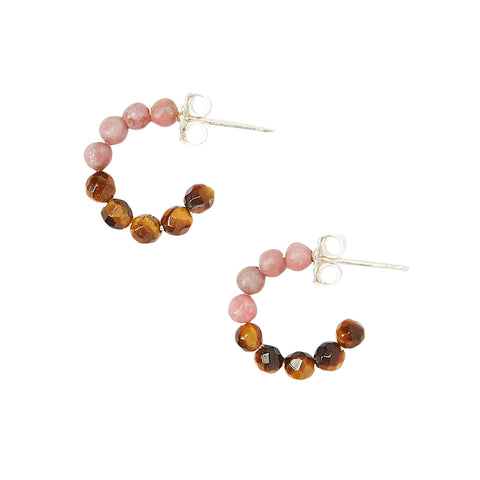 Chan Luu Color Block Stone Huggie Hoop Earrings in Rhodonite and Tiger's Eye