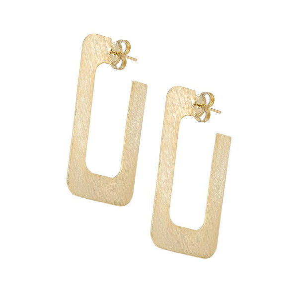 Sheila Fajl 2 inch Rectangular Vada Hoop Earrings in Brushed Gold
