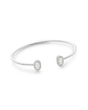 Full View of Kendra Scott Calla Cuff Bangle Bracelet in Iridescent Drusy and Rhodium