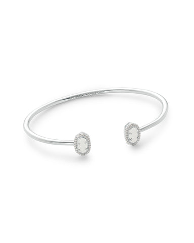 Kendra Scott Calla Cuff Bangle Bracelet in Oval Iridescent Drusy and Rhodium