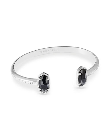 Kendra Scott Elton Open Bangle Bracelet in Black and Rhodium Plated
