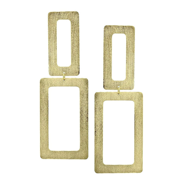 image of Sheila Fajl Double Open Rectangle Statement Earrings in Gold Plated