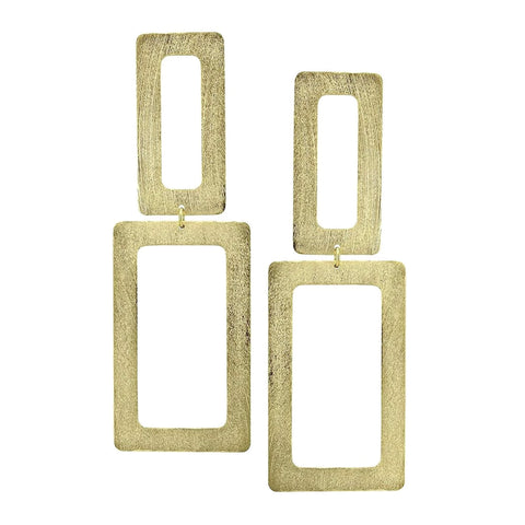 Sheila Fajl Double Open Rectangle Statement Earrings in Gold Plated