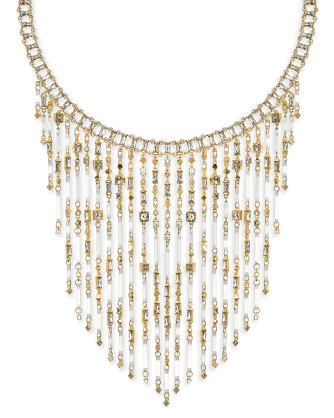 Detail Shot of Kendra Scott Maxen Statement Bib Necklace in Smoky Mix and Gold Plated