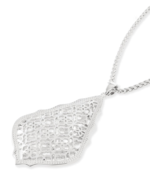 "Kendra Scott Aiden 32"" Teadrop Filigree Pendant Necklace in Rhodium"