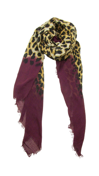 Primary Rolled View Blue Pacific Animal Print Cashmere and Silk Scarf in Burgundy Brown Purple Fig and Tan