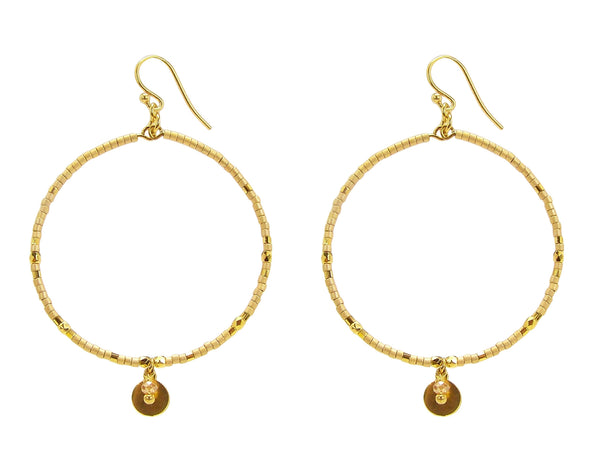Chan Luu Hoop Earrings in Gold Seed Beads with Dangle Charm