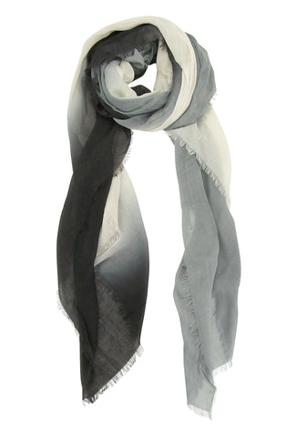 Blue Pacific Dream Cashmere and Silk Scarf in Black White Gray 47 x 37