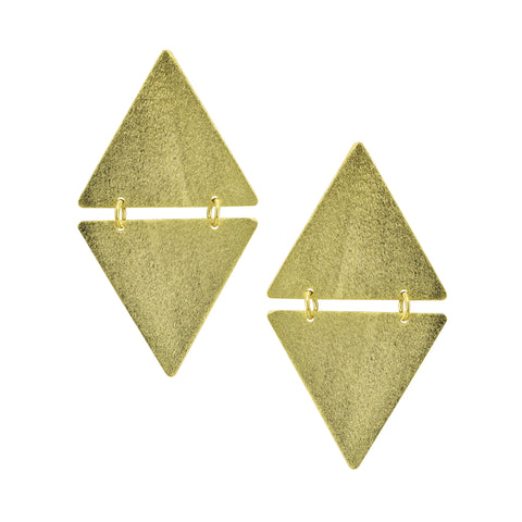 Sheila Fajl Suli Triangle on Triangle Statement Dangle Earrings in Gold