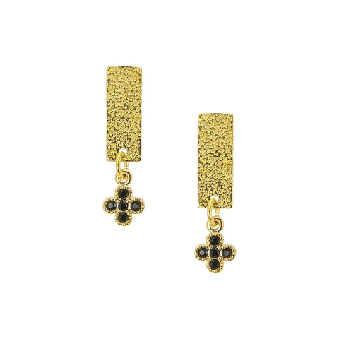 Charlene K Dangle Bar and Clover Charm Earrings in Gold Vermeil
