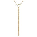 Yunis K Wild Diamond Y Chain Fringe Necklace in Gold Plated