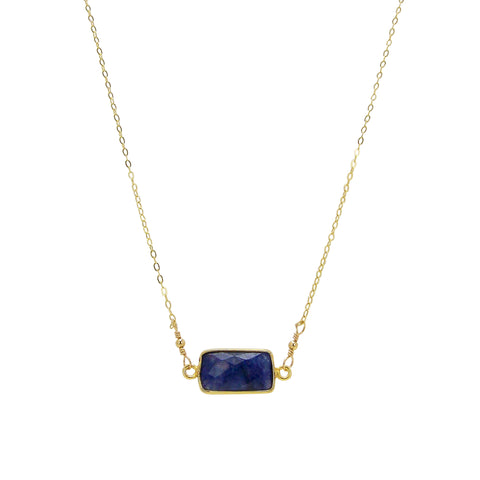 Charlene K Bar Necklace in Sapphire Agate and Gold Vermeil