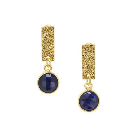 Charlene K Dangle Bar and Blue Agate Charm Earrings in Gold Vermeil