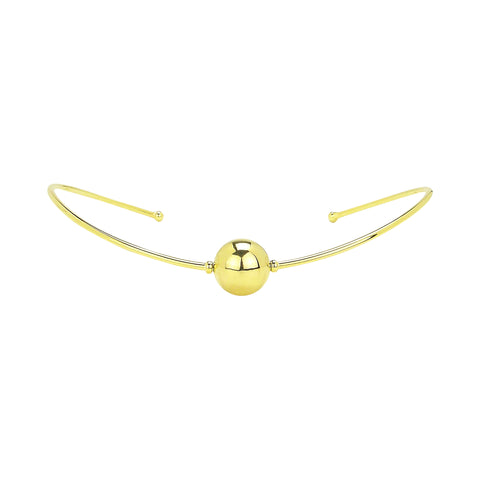 Sheila Fajl Orb Sphere Collar Choker Necklace in Gold Plated