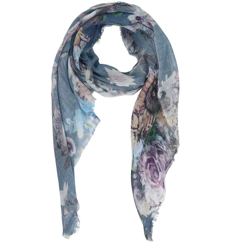 Blue Pacific Floral Micromodal and Silk Neckerchief Scarf in Folkstone