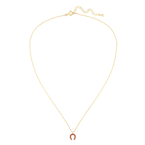 Five and Two Hazel Horseshoe Charm Pendant Necklace in Red CZ and Gold