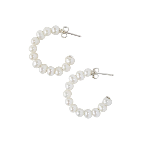 Chan Luu Small Holly Hoop Earrings in White Pearl and Sterling Silver