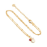 Full View of Azuni London Alaya Charm Necklace in Red Jade and Pink Quartz in 18K Gold Plated
