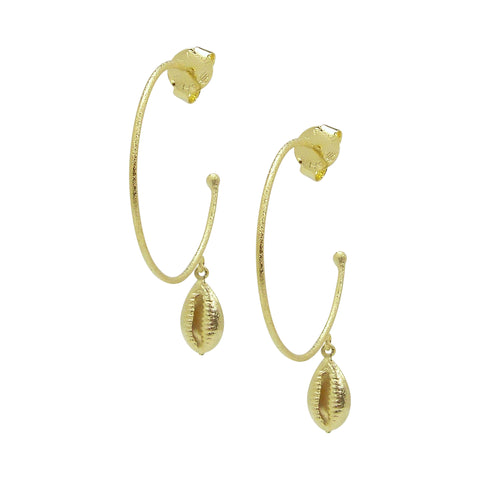 Sheila Fajl Atlantic Hoop Earrings with Shell Charm in Gold Plated