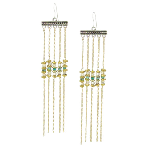Yunis K Eden Gold and Silver Earrings with Fringe and Turquoise Beads