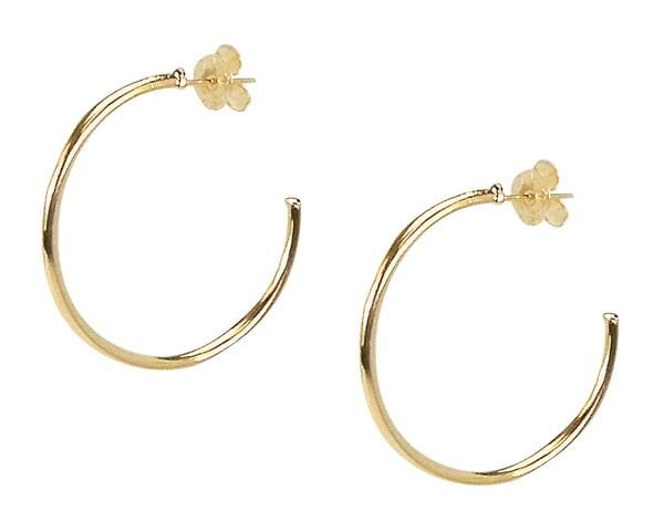 image of Sheila Fajl Petite Favorite Hoop Earrings in Polished Champagne