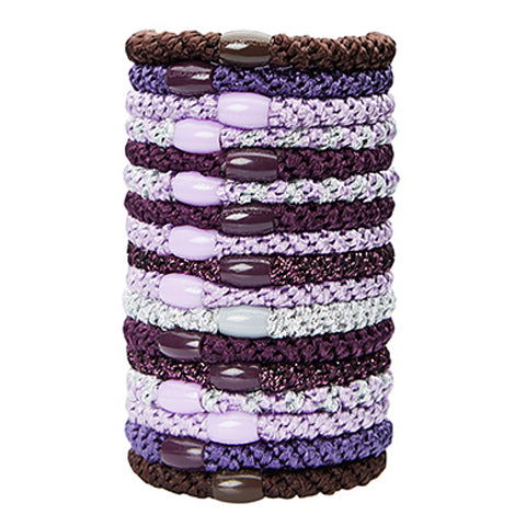 L.Erickson Grab and Go Pony Tube Hair Ties in Grape Mix 15 Pack