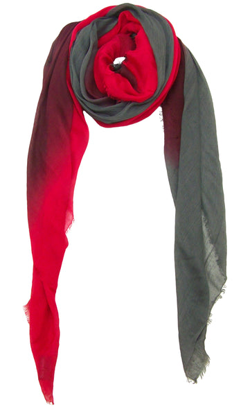 Primary Rolled Blue Pacific Dream Cashmere and Silk Scarf in Red Burgundy Jalapeno Slate