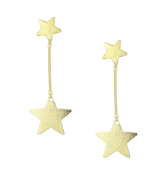 image of Sheila Fajl Vela Statement Dangle Star Earrings in Gold Plated