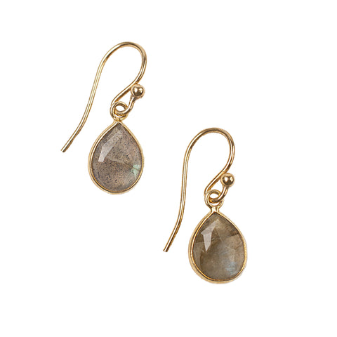 Chan Luu Petite Teardrop Earrings in Labradorite and Gold Plated