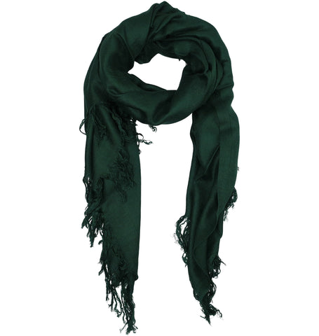Blue Pacific Tissue Solid Modal and Cashmere Scarf Shawl in Pine Green