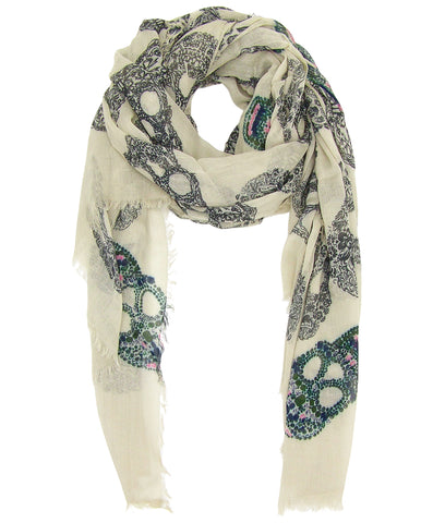 Blue Pacific Frida Cashmere and Silk Sugar Skull Bandana Neckerchief Champagne