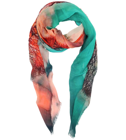 Blue Pacific Micromodal Scarf in Vintage Artisan Lakes Orange Red Blue