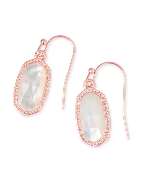 Pair of Kendra Scott Lee Dainty Drop Earrings in Ivory Pearl and Rose Gold