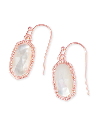 Kendra Scott Lee Dainty Drop Earrings in Ivory Pearl and Rose Gold