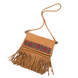 Love Heals Glamolama Shoulder Bag in Tan Leather with Fringe and Beadwork
