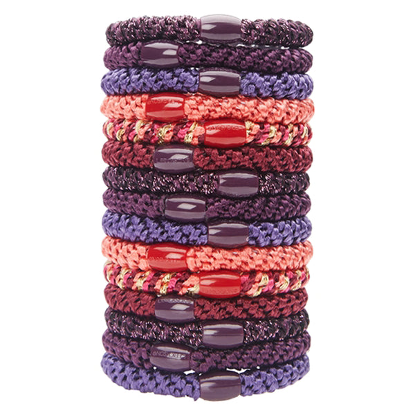 image of L.Erickson Grab and Go Pony Tube Hair Ties in Marrakesh 15 Pack