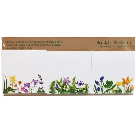 Set of 3 Botanical Photography Sticky Note Set in Rainbows and Greenery