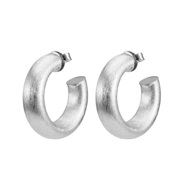 Sheila Fajl Thick Small Chantal Hoop Earrings in Brushed Silver Plated