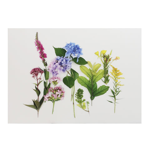 Blank Folding Greeting Card in Pink, Blue and Yellow Wildflowers of Summer
