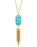 "Kendra Scott Rayne 30"" Pendant Necklace in Bronze Turquoise and Gold"