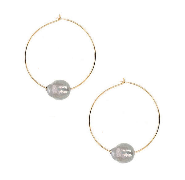 Chan Luu 1.50 Inch Grey Floating Pearl Hoops in Gold Plated